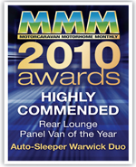 2010 Rear Lounge Panel Van Of The Year awards Warwick Duo Highly Commended