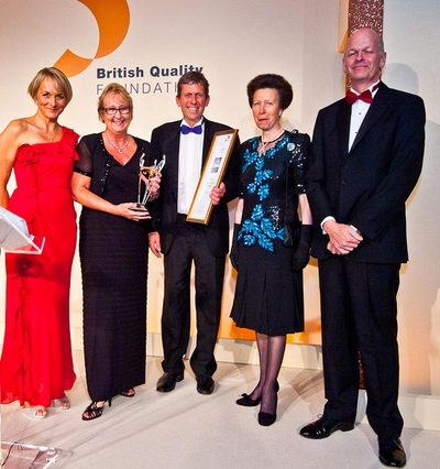 Princess Anne presenting the award at the British Quality Foundation: