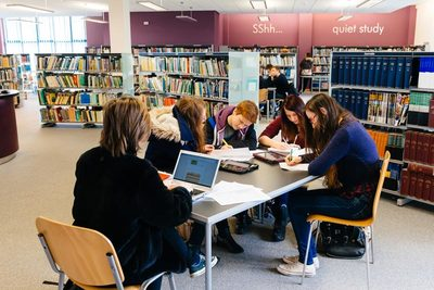 Students working hard in the Library