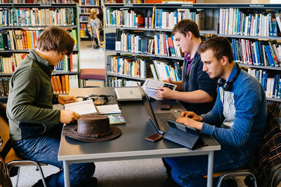 Students revising in the library