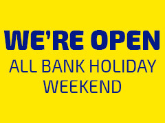 We are open this Bank Holiday Weekend!