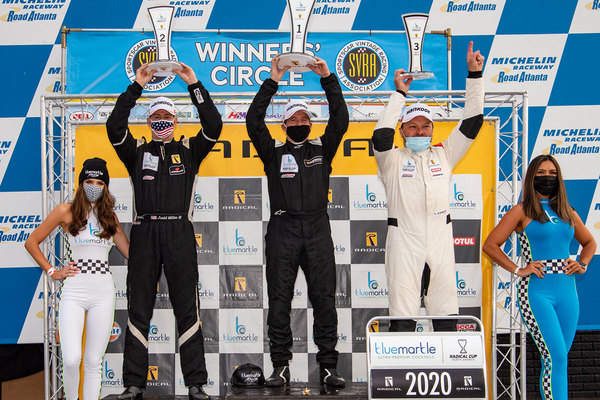 Judd Miller (L), Jon Field (C) and Terry Olson (R) on the podium after the final race of the season
