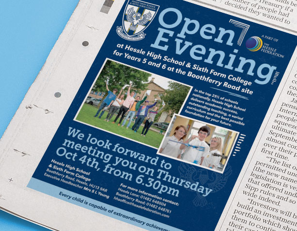Press Ad - High School Open Evening